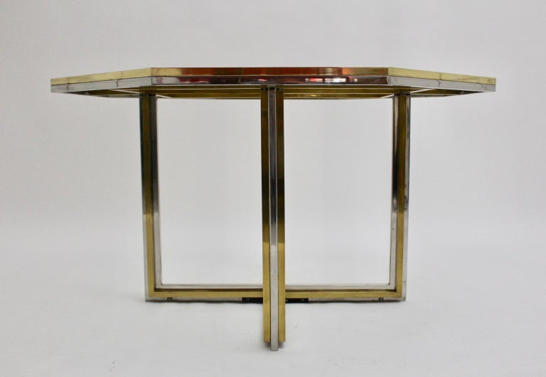 Romeo Rega Style Italian Glass and Brass Chromed Vintage Dining Table, 1970s For Sale 2