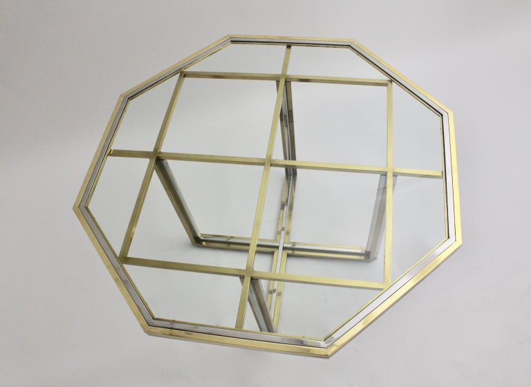 Romeo Rega Style Italian Glass and Brass Chromed Vintage Dining Table, 1970s For Sale 3
