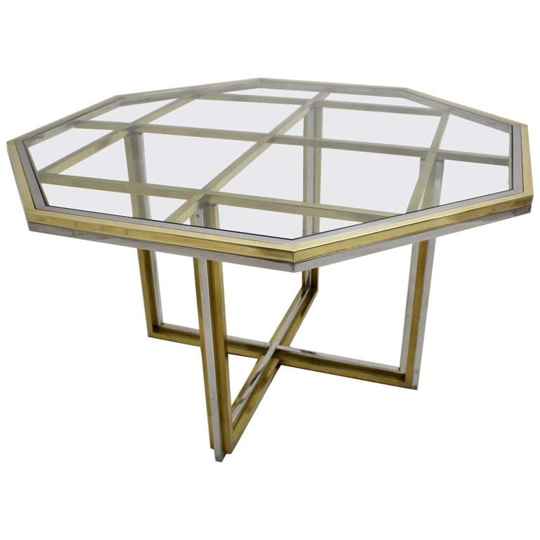 Romeo Rega Style Italian Glass and Brass Chromed Vintage Dining Table, 1970s For Sale