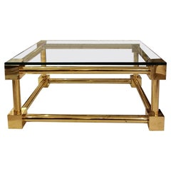 Modernist Brass Coffee Table with Glass Top