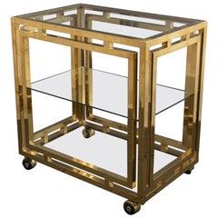 Modernist Brass Drinks Trolley