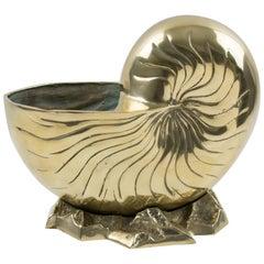 Brass Nautilus SeaShell Wine Cooler Bottle Holder Vase Planter