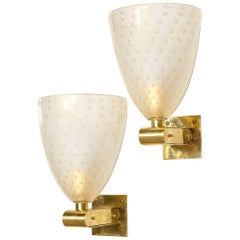 Modernist Brass Sconces with Hand Blown Murano 24-Karat Gold Glass with Murines