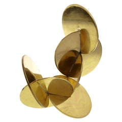 Modernist Brass Sculpture with Interlocking Discs