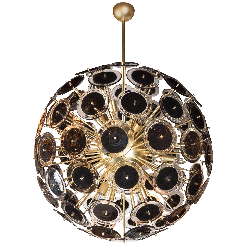 Modernist Brass Sputnik Chandelier with Black/Translucent Handblown Murano Discs