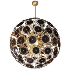 Modernist Brass Sputnik Chandelier with Black/Translucent Handblown Murano Discs