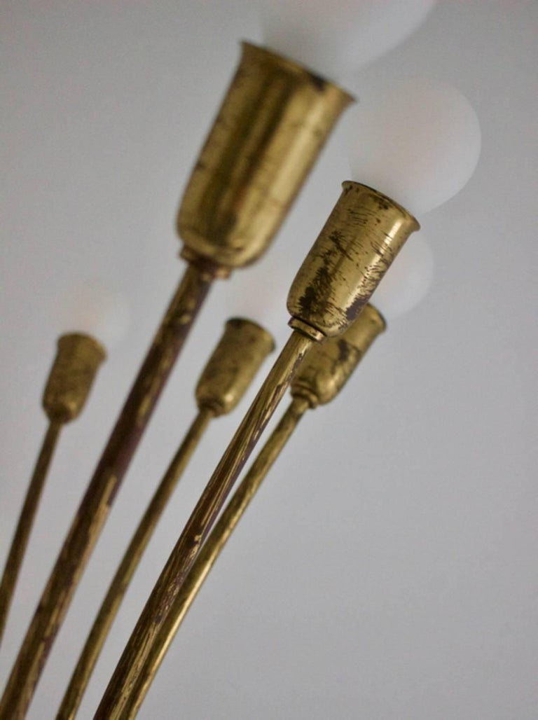 Italian Modernist Brass Uplighter Chandelier Attributed to Guglielmo Ulrich, Italy 1930s For Sale