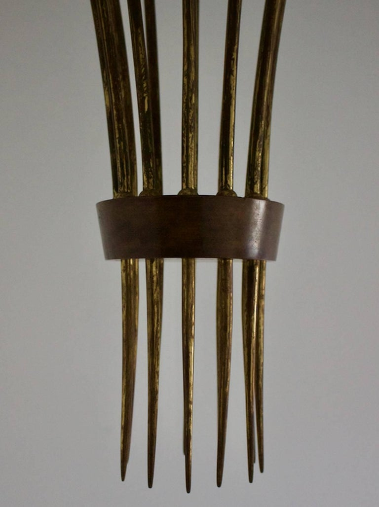 Modernist Brass Uplighter Chandelier Attributed to Guglielmo Ulrich, Italy 1930s In Good Condition For Sale In London, GB