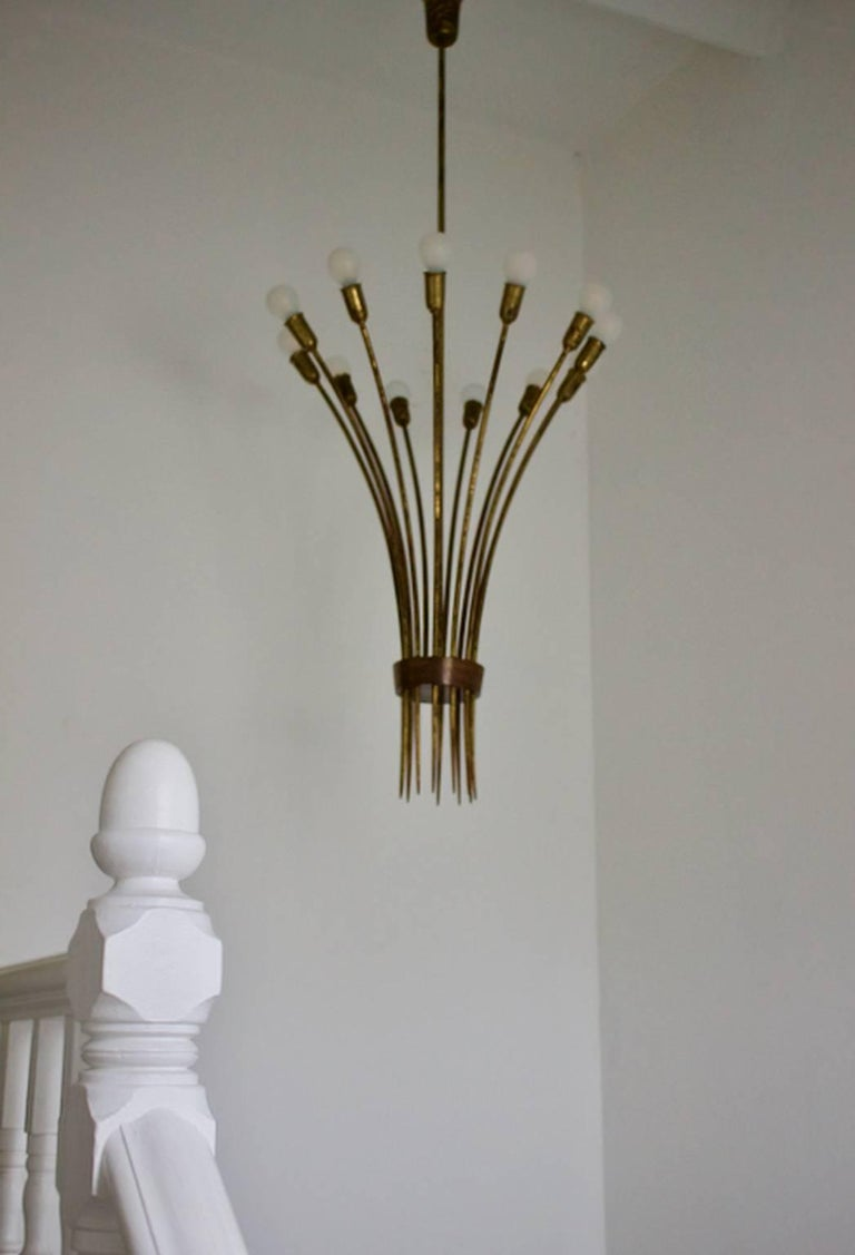 Mid-20th Century Modernist Brass Uplighter Chandelier Attributed to Guglielmo Ulrich, Italy 1930s For Sale