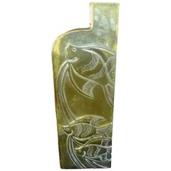 Modernist Brass Vase with Etched Fish