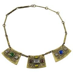 Modernist Bronze Choker Necklace Multicolor Poured Glass Cabochon