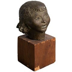 Modernist Bronze Female Bust, circa 1920