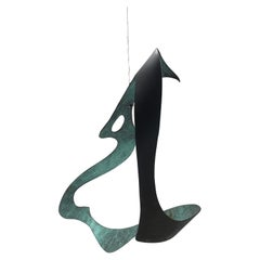 Modernist Bronze Kinetic Ribbon Sculpture, Indoor / Outdoor, Signed R H C