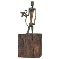 Modernist Bronze Sumerian Art Sculpture Intertwined God Snake & Chalice 1940s