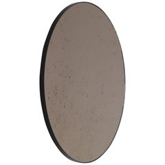 Modernist Bronze Tinted Antiqued Orbis Round Mirror Black Frame, Customizable