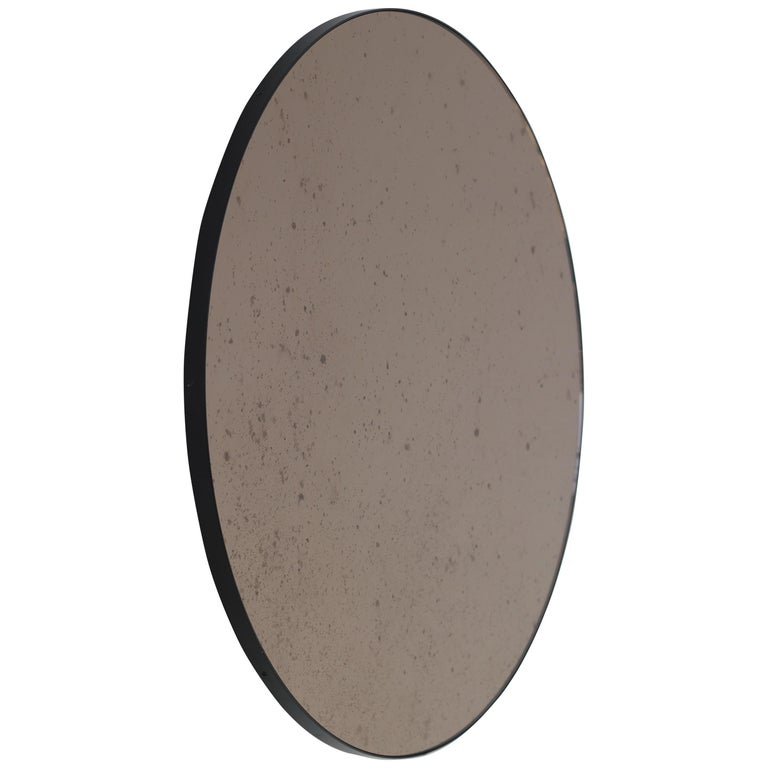 Modernist Bronze Tinted Antiqued Orbis Round Mirror Black Frame, Customizable For Sale