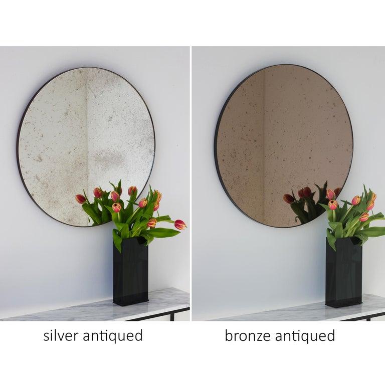 Modernist Bronze Tinted Antiqued Orbis Round Mirror Black Frame, Customizable For Sale 2