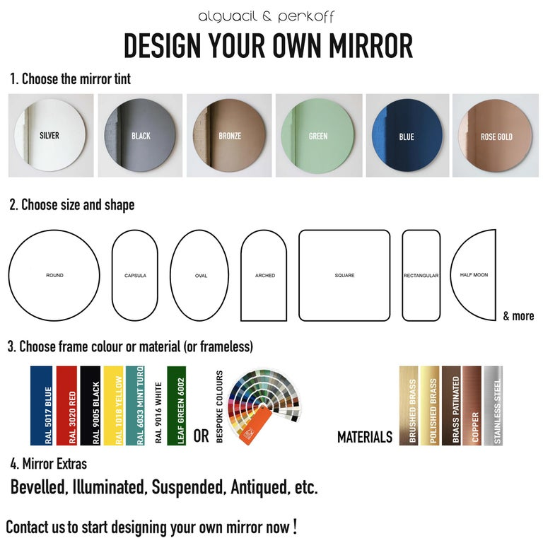 Modernist Bronze Tinted Antiqued Orbis Round Mirror Black Frame, Customizable For Sale 3