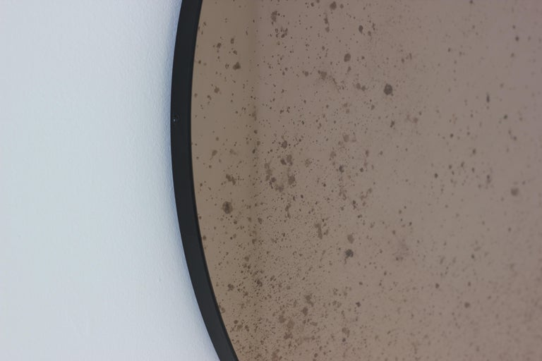 Organic Modern Modernist Bronze Tinted Antiqued Orbis Round Mirror Black Frame, Customizable For Sale