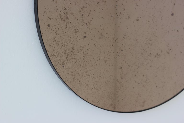 Powder-Coated Modernist Bronze Tinted Antiqued Orbis Round Mirror Black Frame, Customizable For Sale