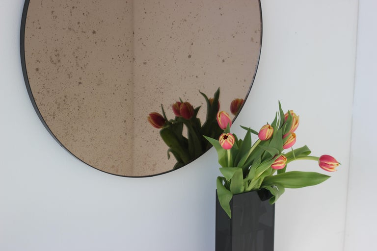 Contemporary Modernist Bronze Tinted Antiqued Orbis Round Mirror Black Frame, Customizable For Sale