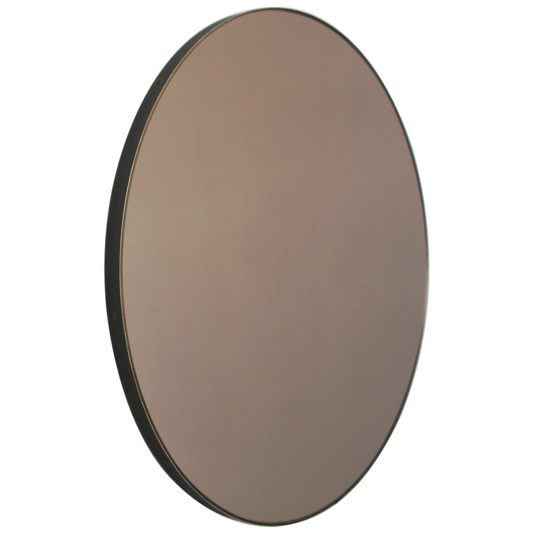 Modernist Bronze Tinted Orbis™ Round Mirror Brass Frame, Medium, Customizable For Sale