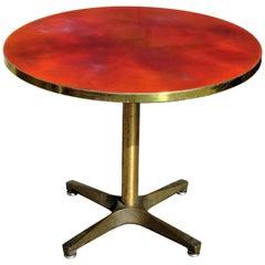 Modernist Bronze X Base Enamel Top Swivel Table