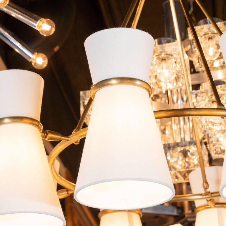 American Modernist Brushed Brass Circular Chandelier with Stilnovo Style Linen Shades For Sale