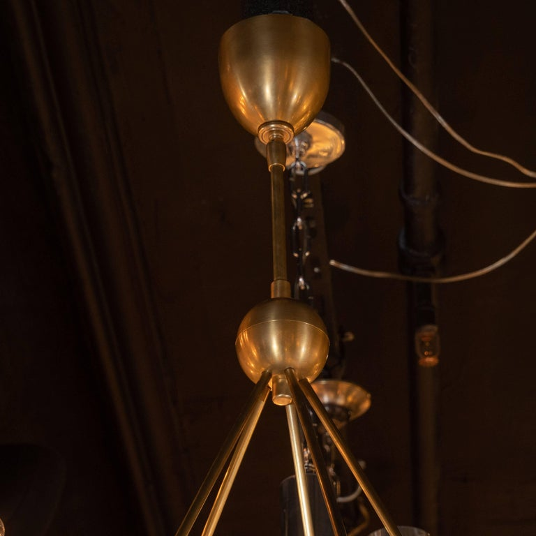 Modernist Brushed Brass Circular Chandelier with Stilnovo Style Linen Shades In Excellent Condition For Sale In New York, NY