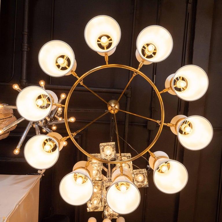 Modernist Brushed Brass Circular Chandelier with Stilnovo Style Linen Shades For Sale 1