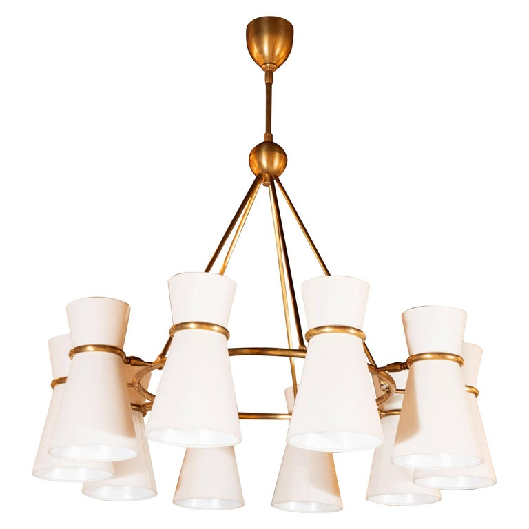 Modernist Brushed Brass Circular Chandelier with Stilnovo Style Linen Shades For Sale