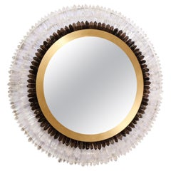 Modernist Brushed Brass, White & Smoked Rock Crystal Circular Wall Mirror