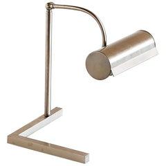 Modernist Brushed Steel Desk Lamp, Netherlands, 1930s