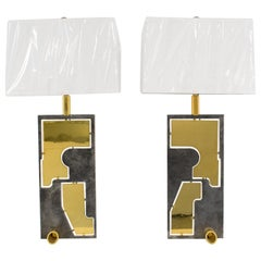 1980s Industrial Brutalist French Brass Steel Table Lamp, a pair