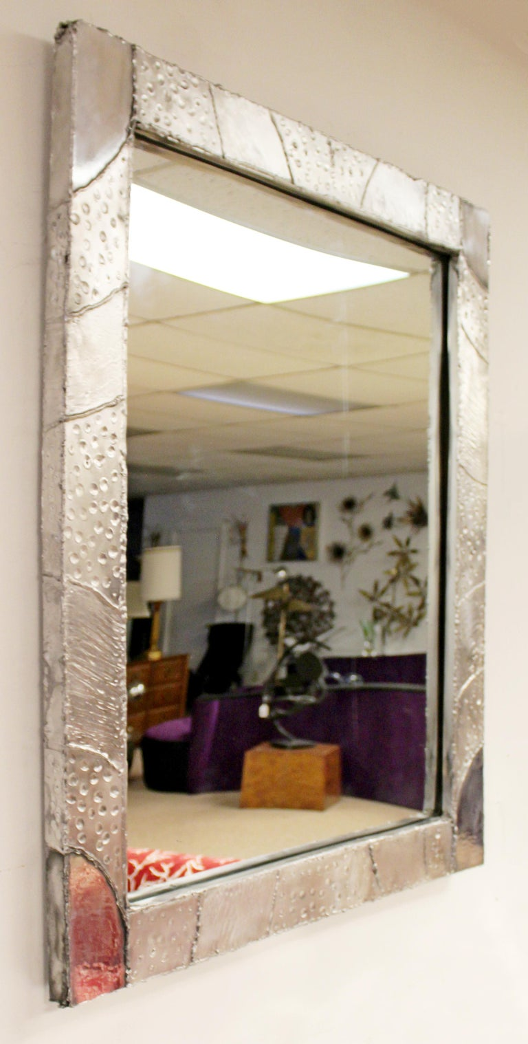 Contemporary Modernist Brutalist Aluminum Rectangular Wall Mirror Argente Evans Style For Sale
