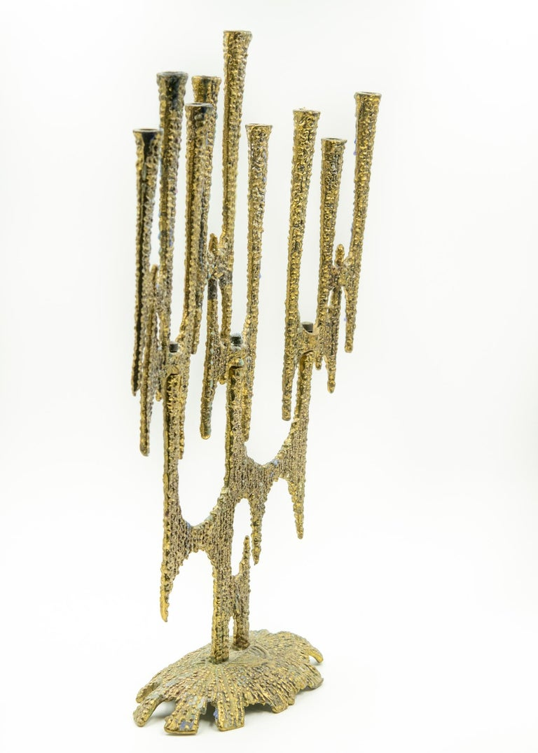 """Tarnish wax 3 turnable sections with 3 candles each Marked made in Israel Measures: 13.5"""" tall by 9"""" long by 3.25"""" deep."""