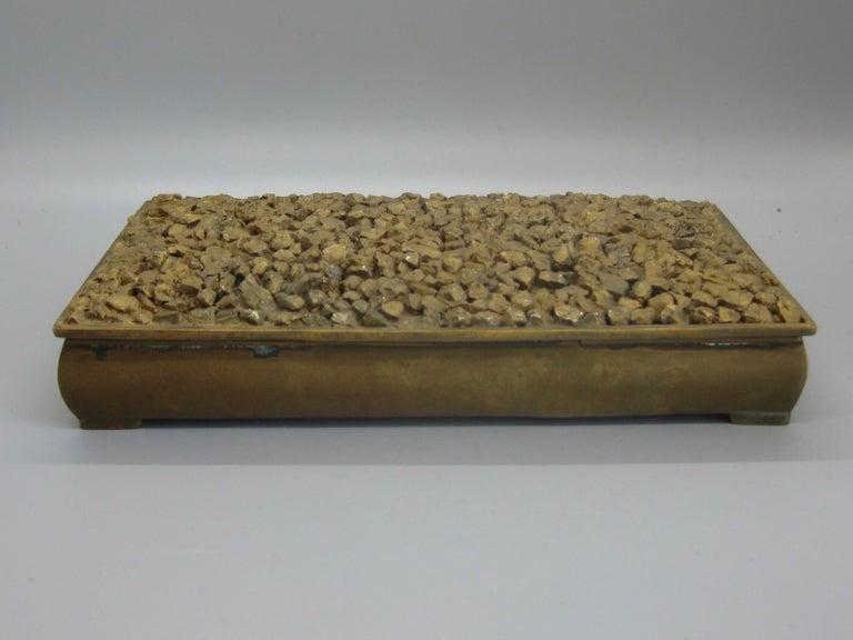 Modernist Brutalist Taxco Metales Mexico Brass Desk Stash Trinket Cigarette Box For Sale 5