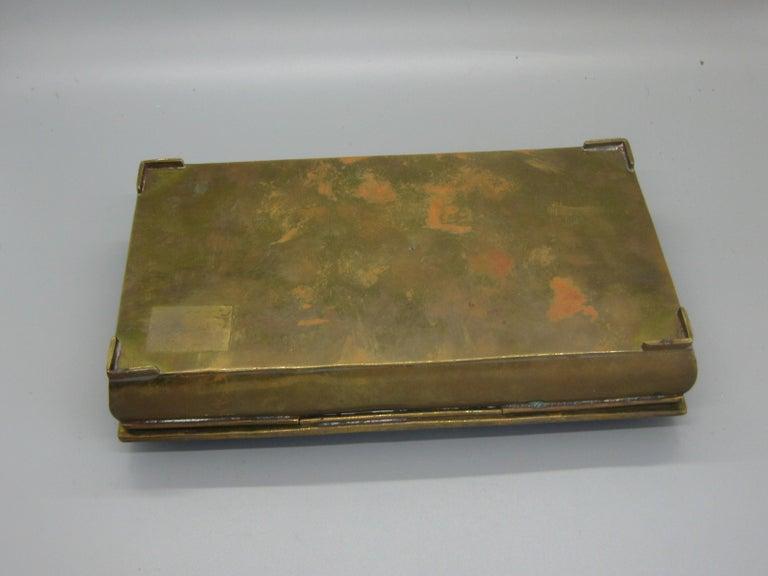 Modernist Brutalist Taxco Metales Mexico Brass Desk Stash Trinket Cigarette Box For Sale 8