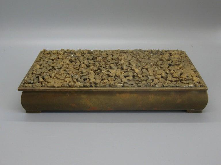 Modernist Brutalist Taxco Metales Mexico Brass Desk Stash Trinket Cigarette Box In Good Condition For Sale In San Diego, CA