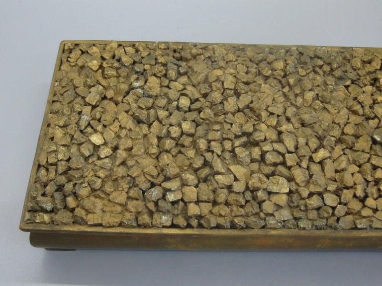 Onyx Modernist Brutalist Taxco Metales Mexico Brass Desk Stash Trinket Cigarette Box For Sale