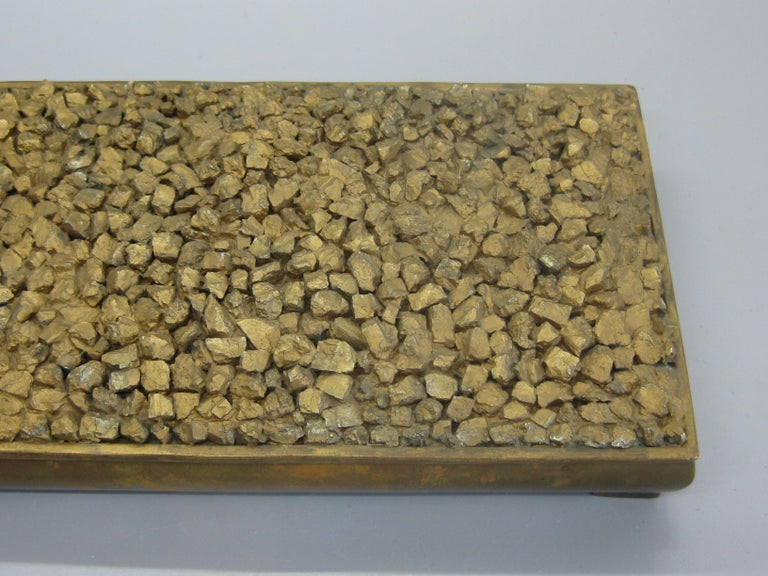 Modernist Brutalist Taxco Metales Mexico Brass Desk Stash Trinket Cigarette Box For Sale 1