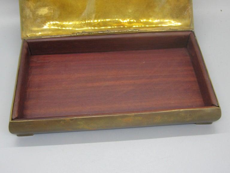 Modernist Brutalist Taxco Metales Mexico Brass Desk Stash Trinket Cigarette Box For Sale 3
