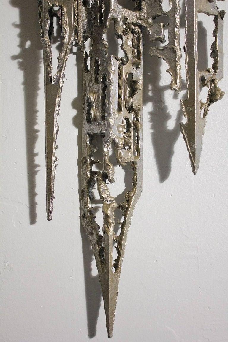 Modernist Brutalist Torch Cut Aluminium Wall Sculpture For Sale 5
