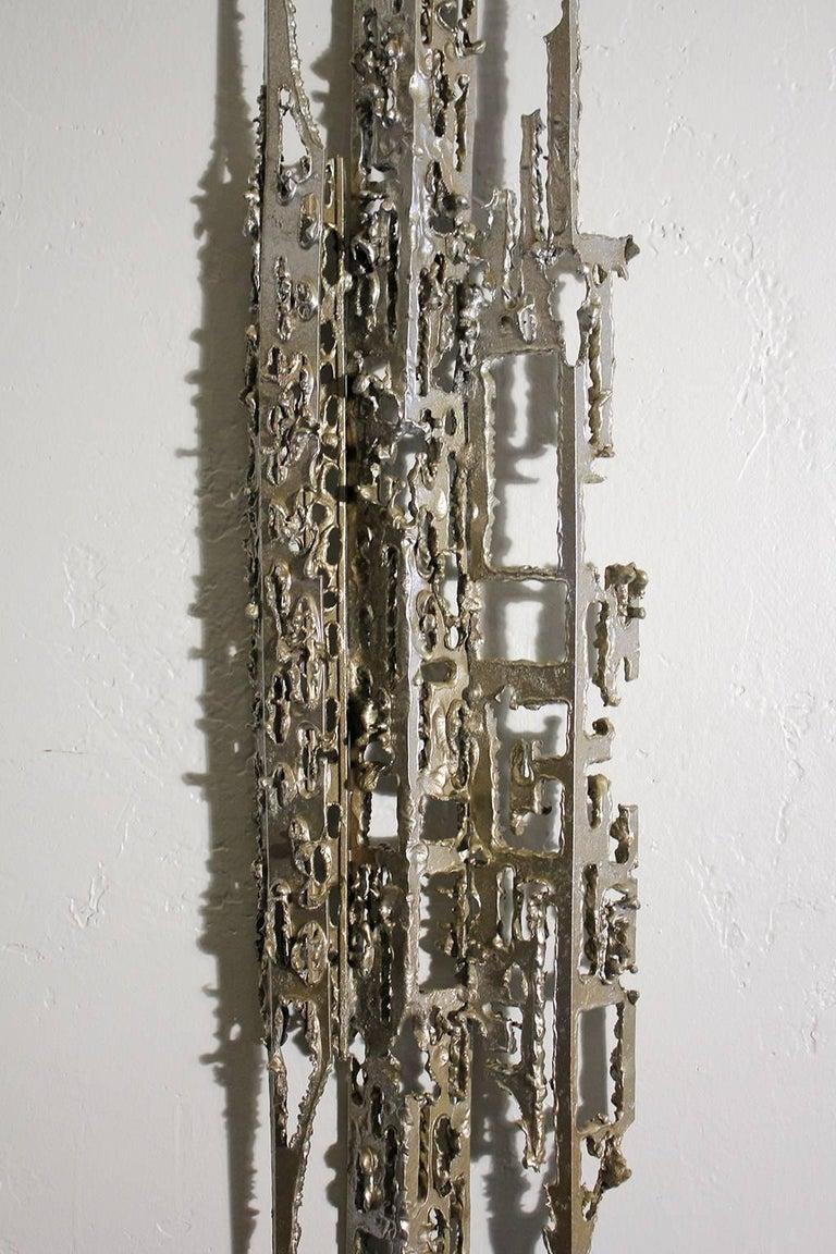 20th Century Modernist Brutalist Torch Cut Aluminium Wall Sculpture For Sale