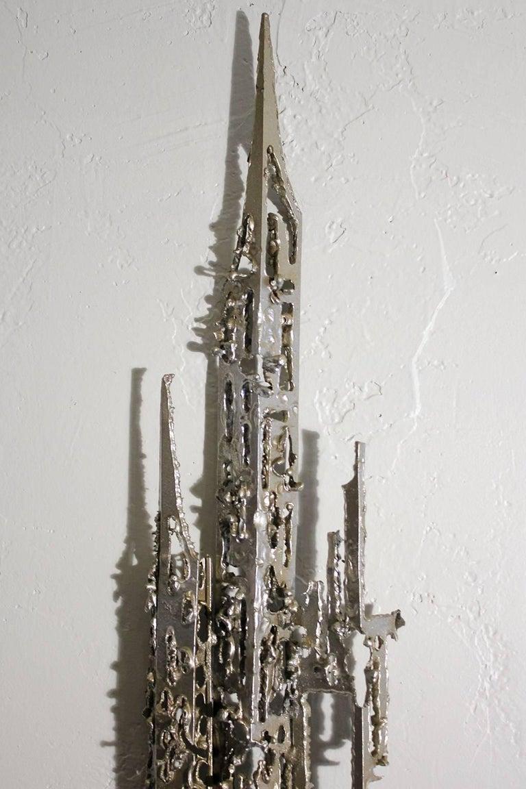 Aluminum Modernist Brutalist Torch Cut Aluminium Wall Sculpture For Sale