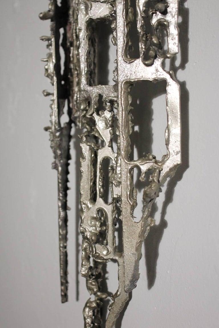 Modernist Brutalist Torch Cut Aluminium Wall Sculpture For Sale 1