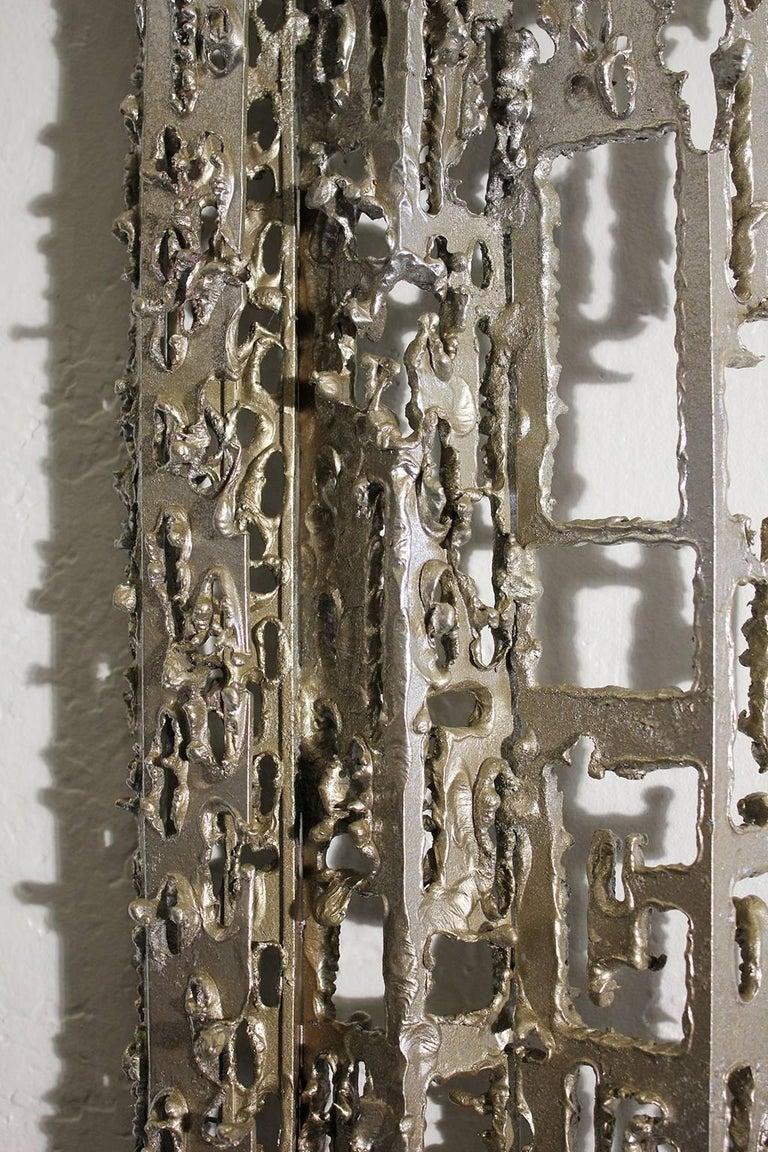 Modernist Brutalist Torch Cut Aluminium Wall Sculpture For Sale 2