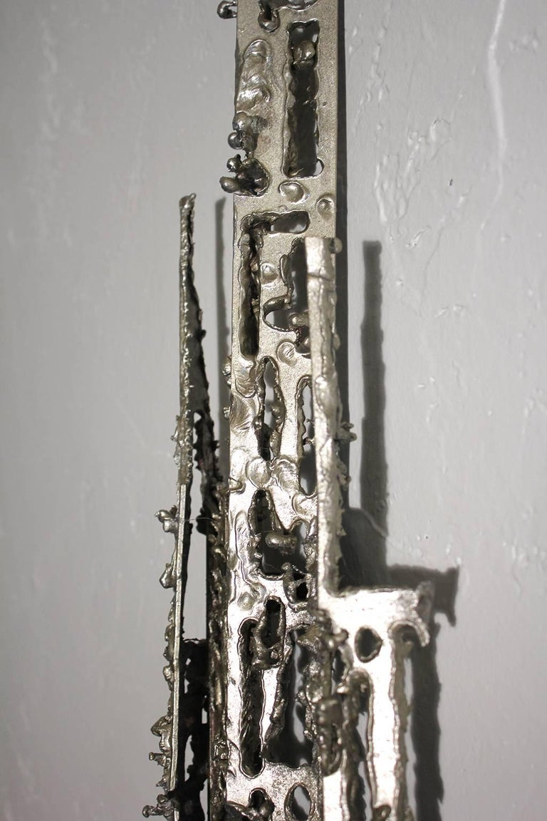 Modernist Brutalist Torch Cut Aluminium Wall Sculpture For Sale 4