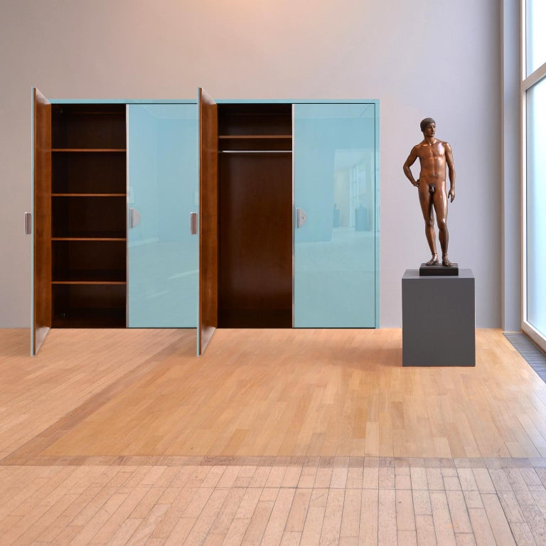 Contemporary Modernist Built-in Wardrobe in Handcrafted, Glossy Lacquered Wood, Germany, 2018 For Sale