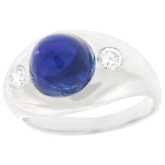 Modernist Burch 6.80 Carat No Heat Sapphire and Diamond Ring
